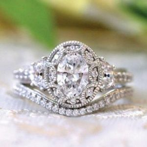 NEW 925 Sterling Silver Diamond Oval Cut Halo Ring